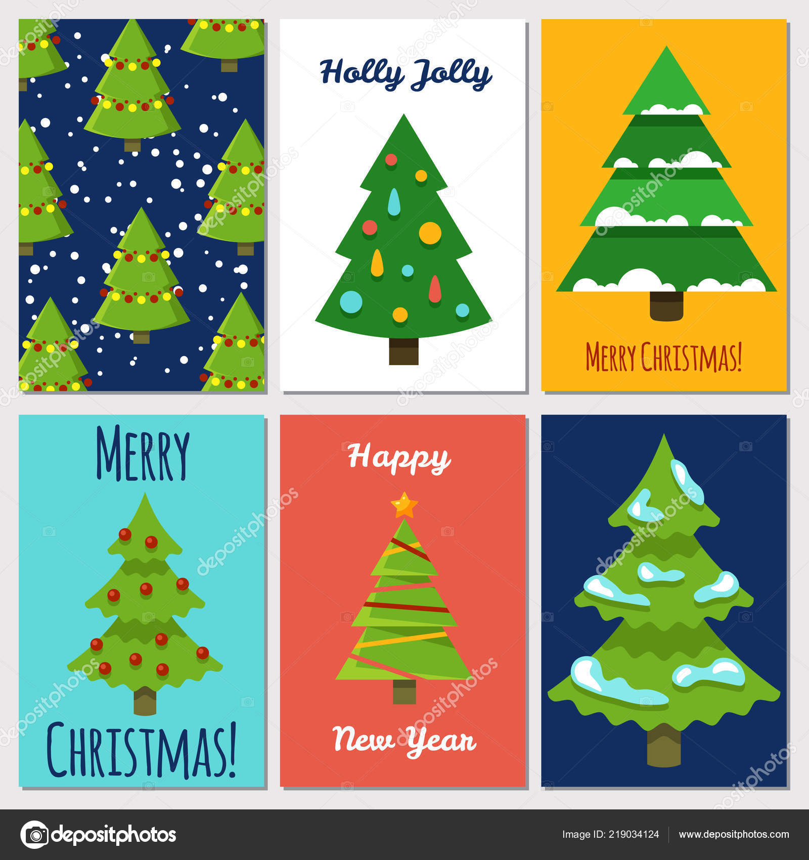 christmas and new year cards template with cartoon festive christmas tree stock vector