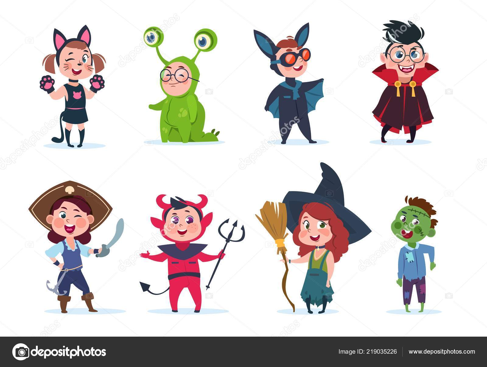 Pictures Halloween Cartoon Characters Costumes Kids Halloween Costumes Cartoon Cute Baby At Halloween Party Festival Cartoon Vector Characters Stock Vector C Microone 219035226
