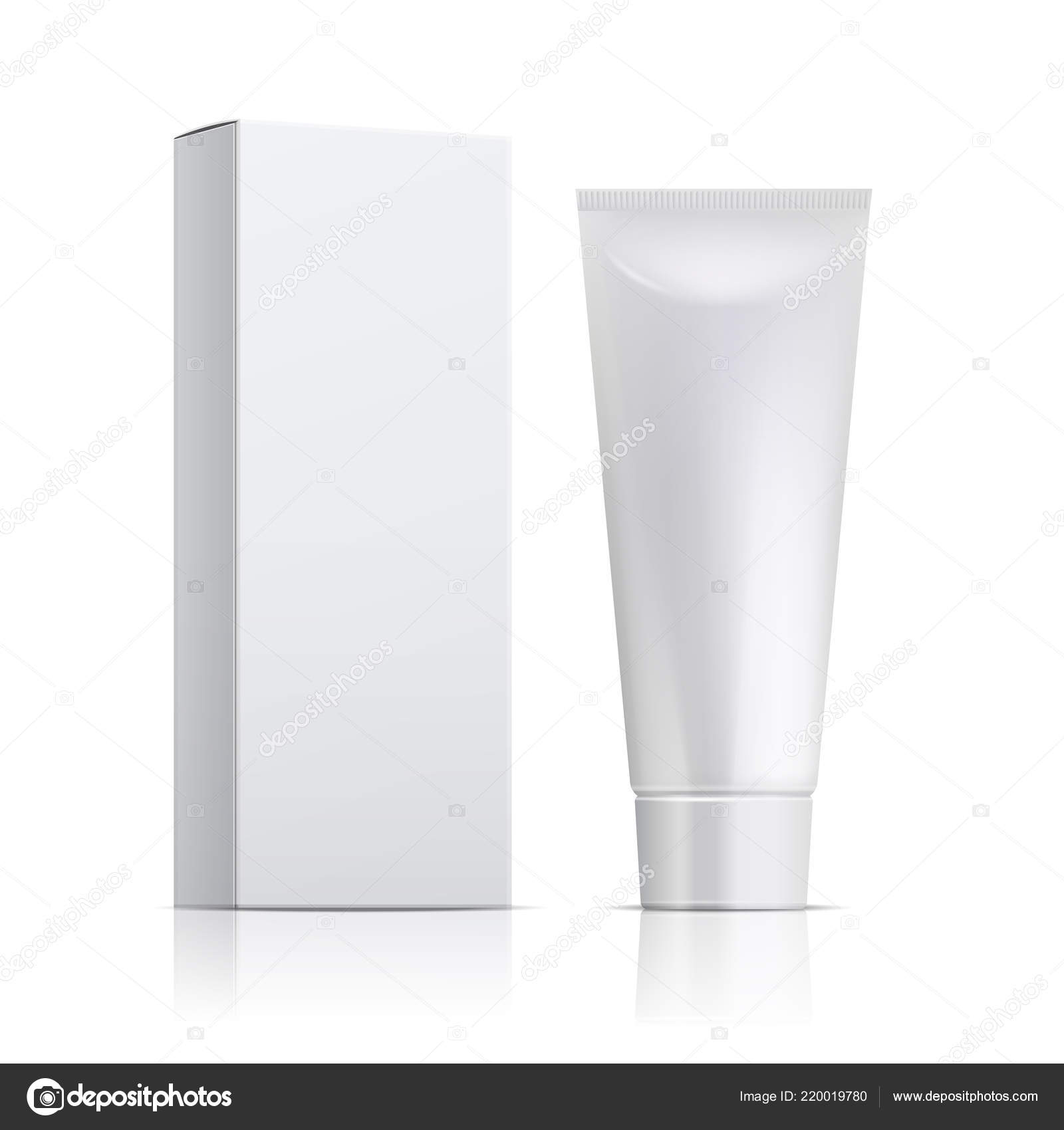 Cream Tube And Packaging Ointment Or Toothpaste Box Mockup 3d White Cosmetic Gel Vector Template Stock Vector C Microone 220019780