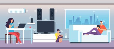 Electromagnetic field in home. People under EMF waves from appliances and devices. Electromagnetic pollution vector concept
