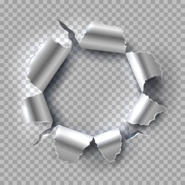 Metal hole. Exploding steel with torn, ripped edges isolated on transparent background. Vector grunge background