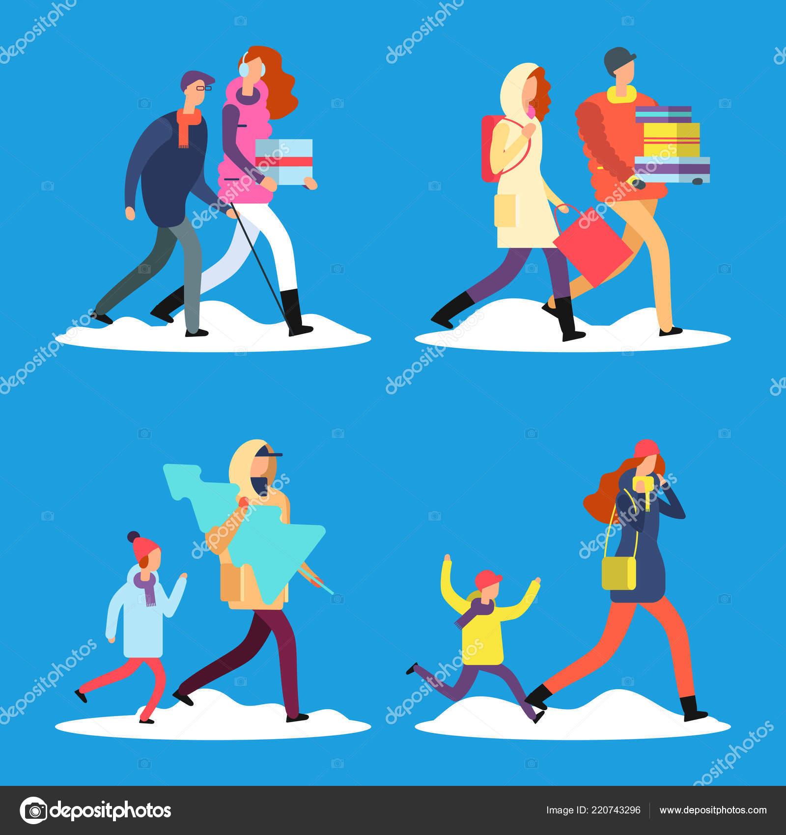 82fac2580d Cartoon people walking on winter snow street — Stock Vector ...