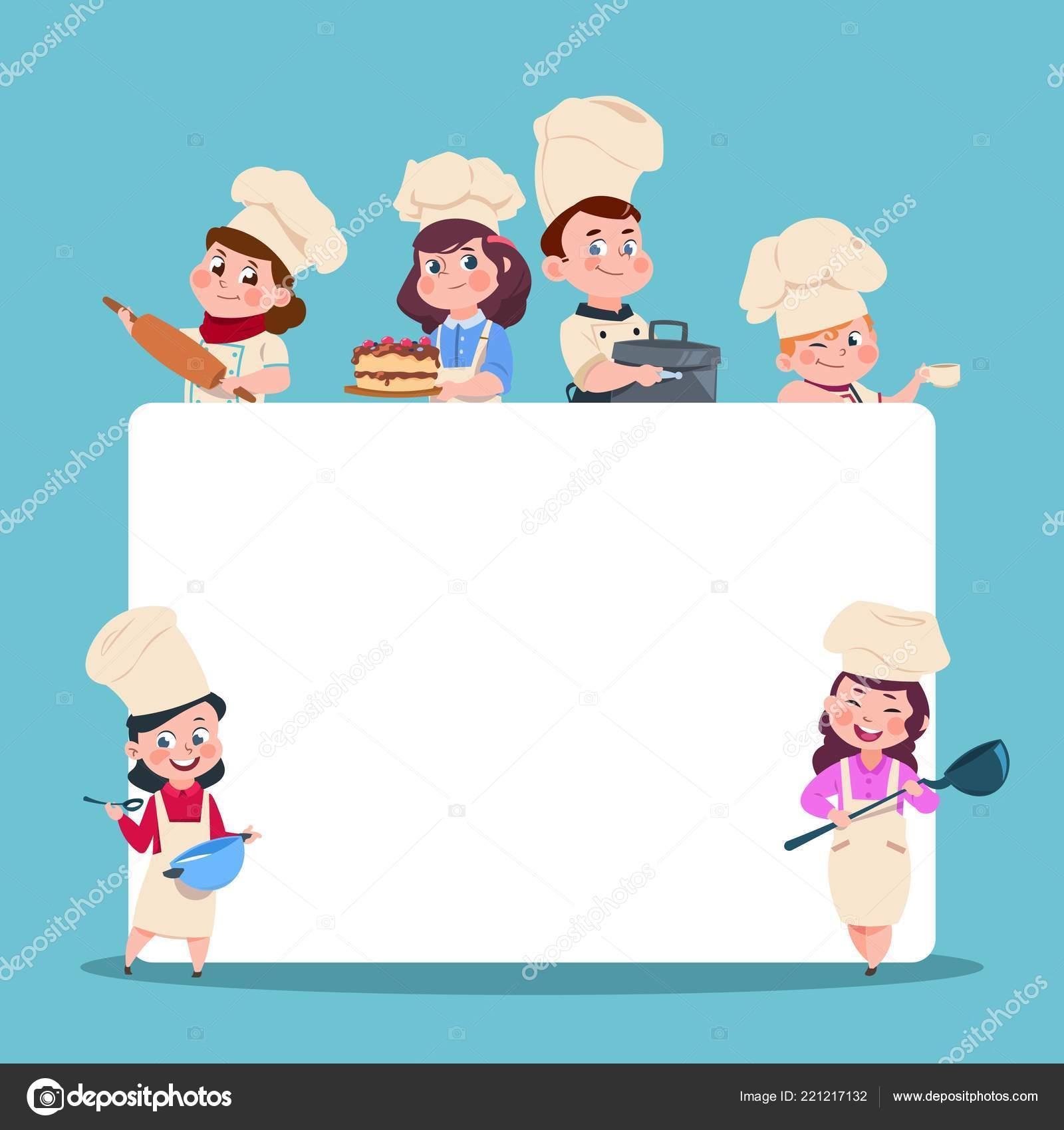 Poco Los Cocineros Chef De Los Niños De Dibujos Animados Con