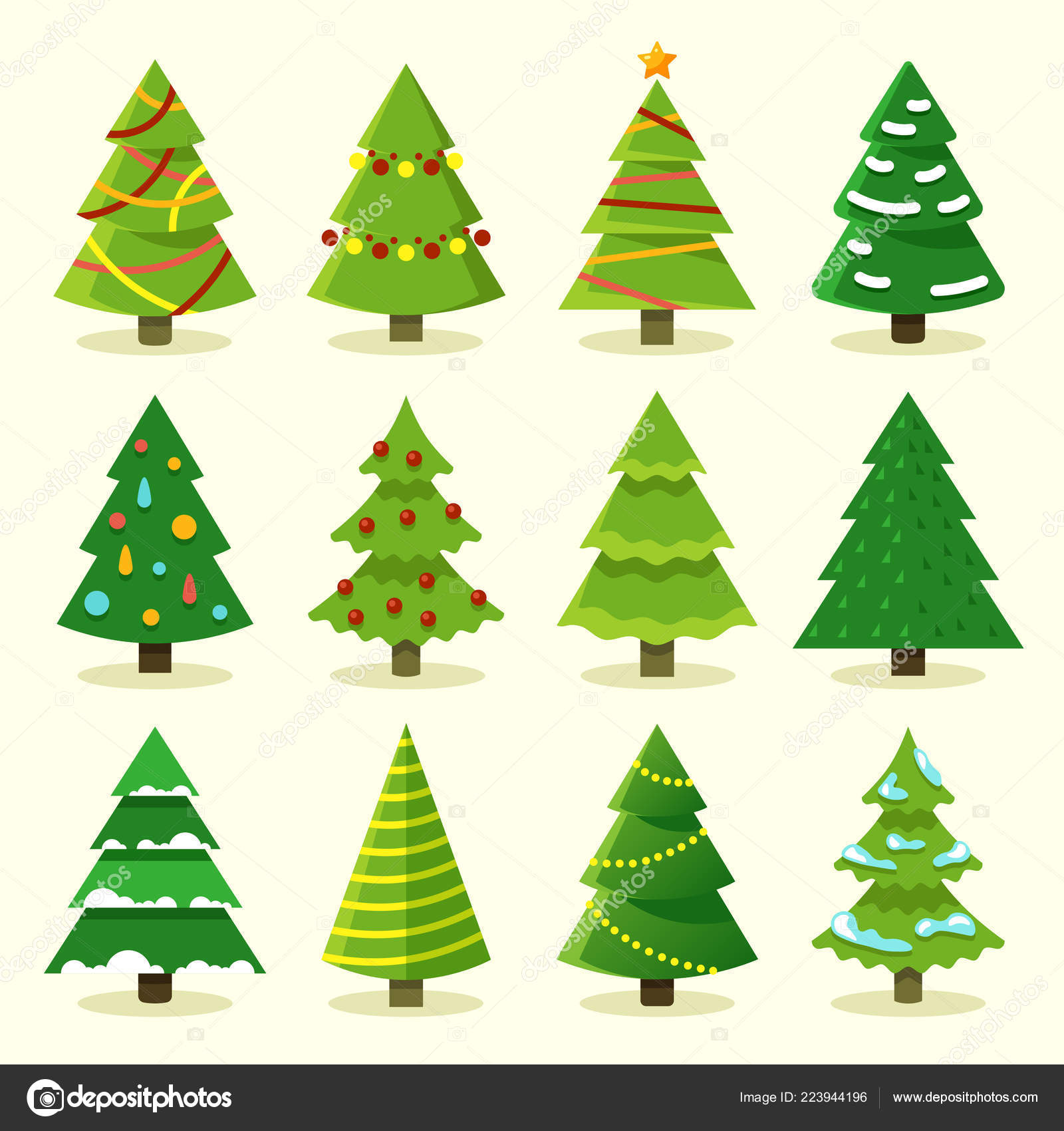 Winter Colorful Cartoon Christmas Tree Vector Set Stock Vector
