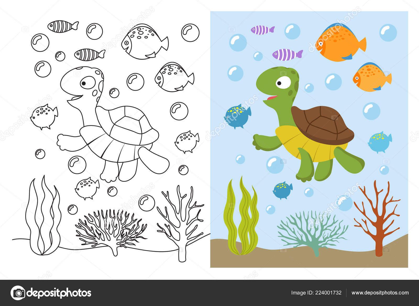 Kleurplaten Dieren Onder Water.Turtle Kleurplaten Cartoon Zeedieren Onderwater Zwemmen