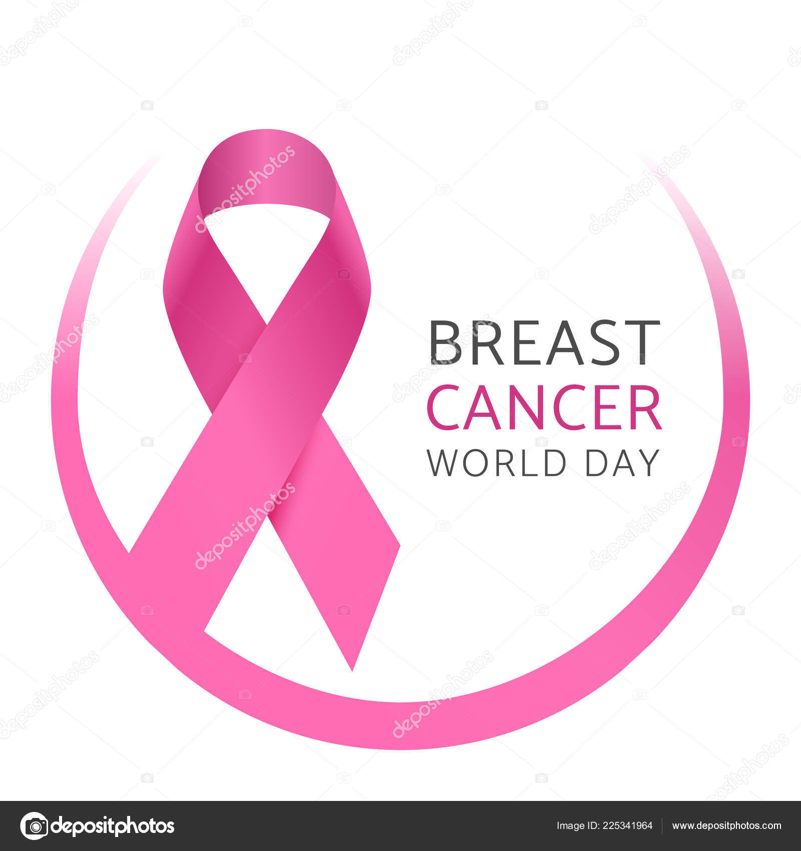 Breast cancer world day  Awareness pink silk ribbon of woman