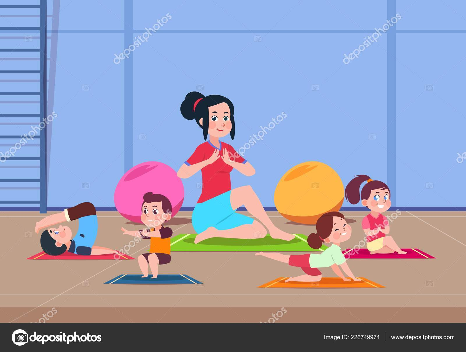 Images Exercise Class Cartoon Kids In Yoga Class Cartoon Children With Instructor Doing Yoga Exercises In Gym Interior Healthy Lifestyle Vector Concept Stock Vector C Microone 226749974