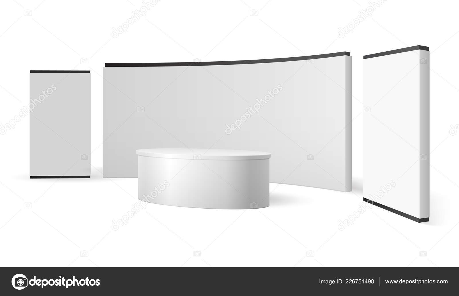 Trade Exhibition Stand Mockup Free : White exhibition stand. blank trade show booth promotional display