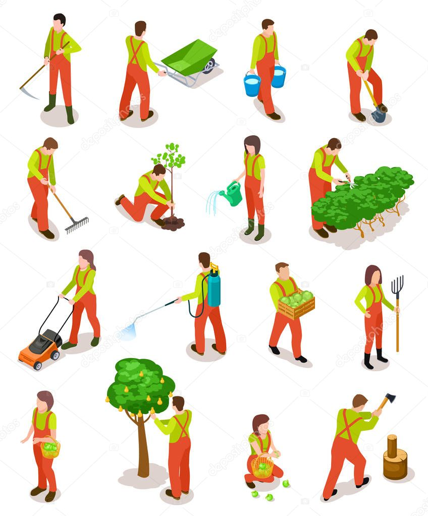 Isometric gardeners. Farmers work in garden. People in farming rural scene with trees and plants. 3d vector characters isolated