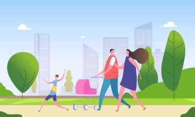 Family walking city street. Cartoon mother, father and children together in cityscape. Weekend in city vector illustration