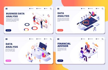 Data analysis, financial adviser, business data analysis vector landing pages template