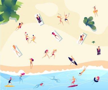 Summer beach people. Persons swim dive in sea relaxing sunbathing active family women men water games summer beach vector concept