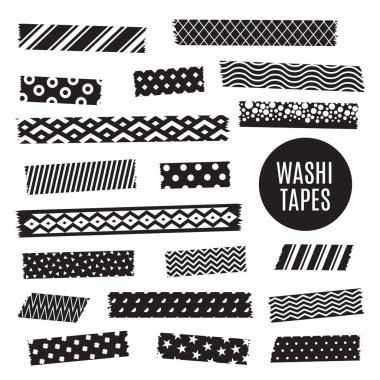 Black and white washi tape strips, vector scrapbook elements
