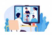 Videokonferenz. Menschen gruppieren sich auf dem Computerbildschirm und nehmen mit Kollegen zu. Videokonferenzen und Online-Kommunikations-Vektorkonzept