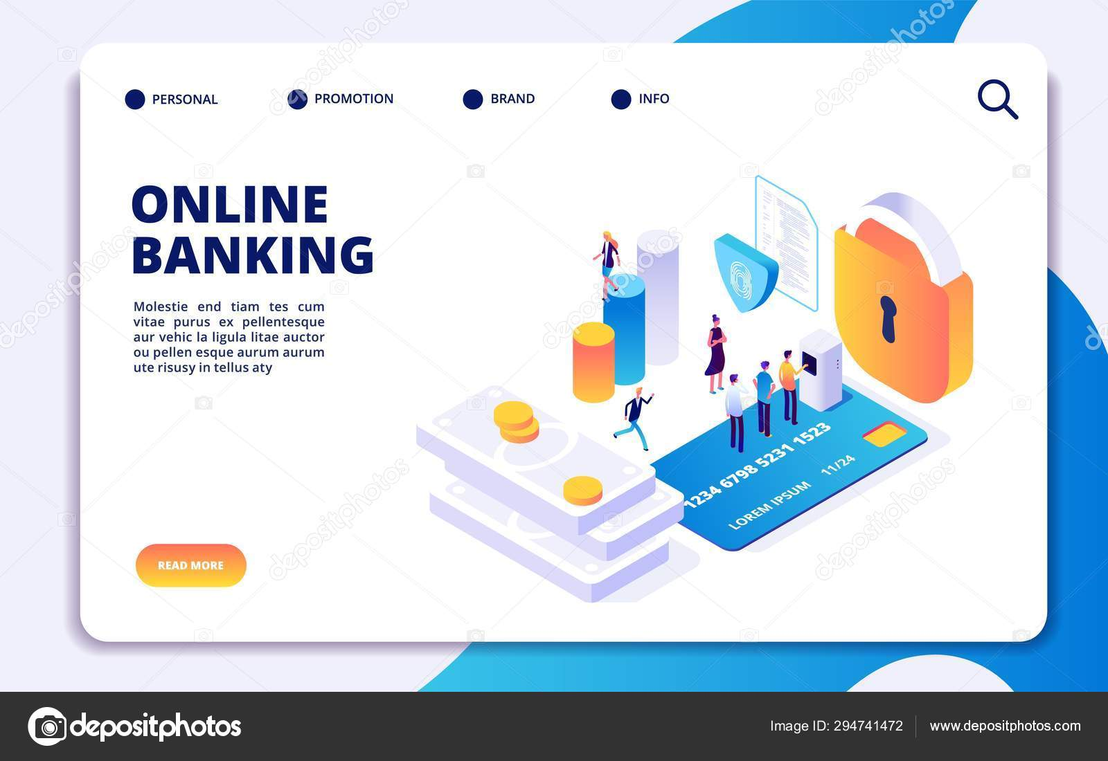 Online banking isometric landing page  Vector internet money