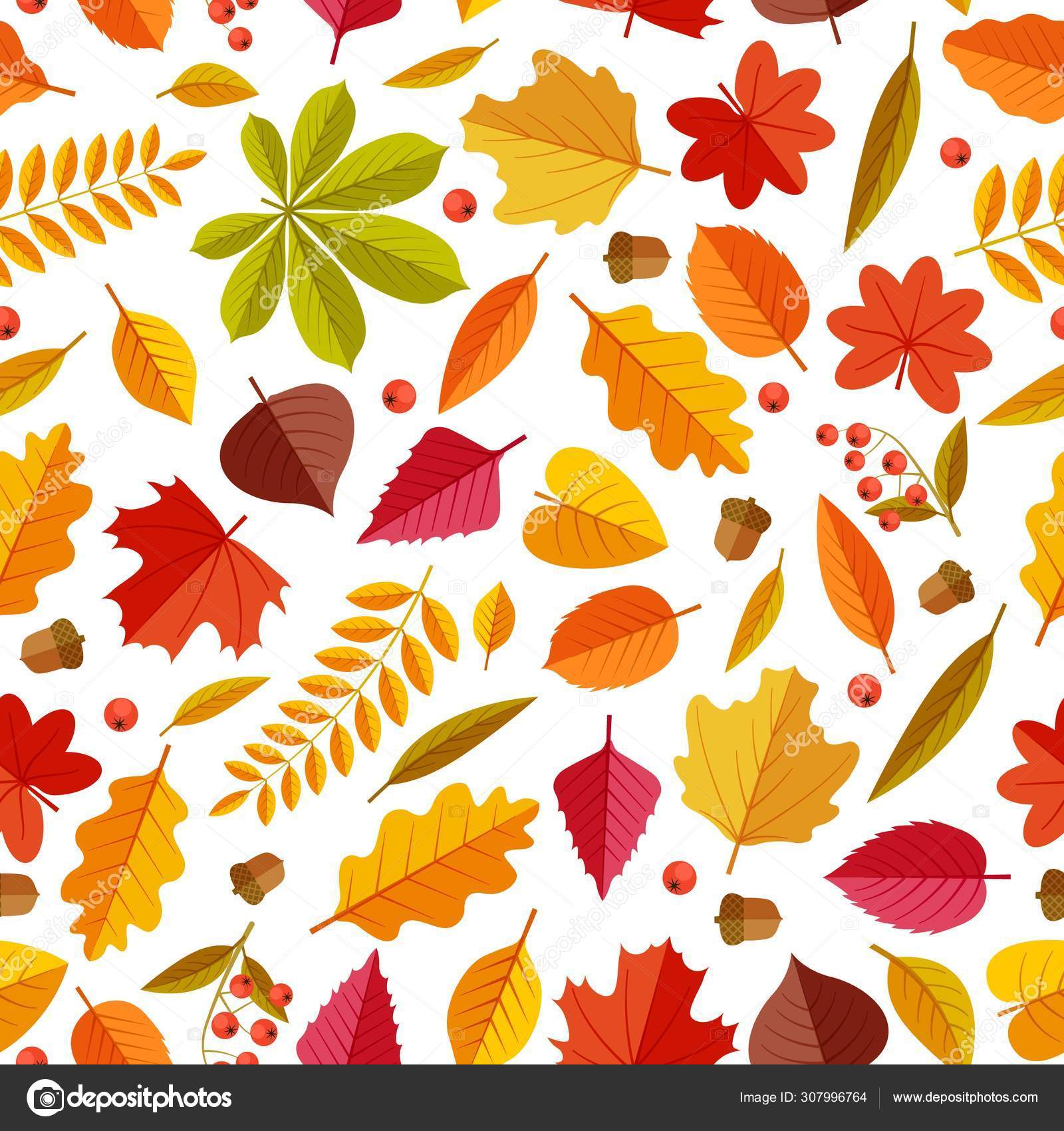 Autumn Leaves Pattern Abstract Repeating Fall Leaf