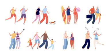 Happy old people. Fun elderly couple, seniors active lifestyle. Healthy grandparents travel, shopping. Adult man woman together vector set