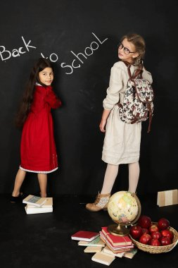 two beautiful girlfriends of schoolgirls standing near a blackboard with books and a globe on a black background