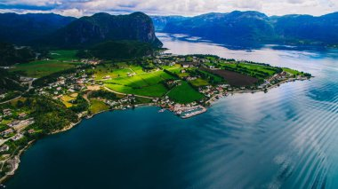 Scenic aerial view of Norway landscape, sea and mountains,