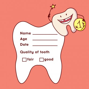Cute tooth receipt certificate template with sparkling tooth, tooth fairy girl and coin. Reward for children who loose their baby teeth.
