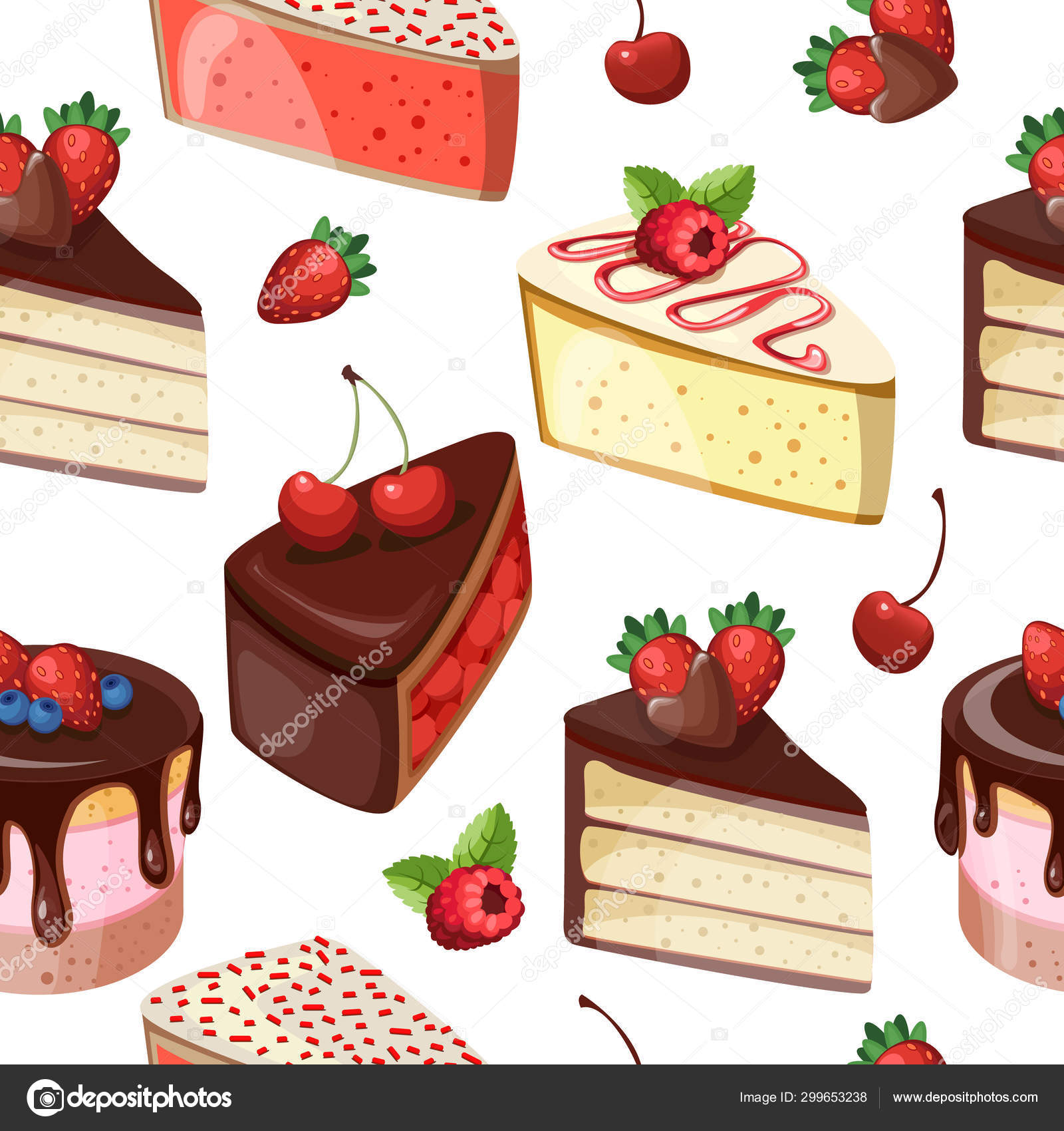 Cakes slices seamless background. Seamless pattern with pies