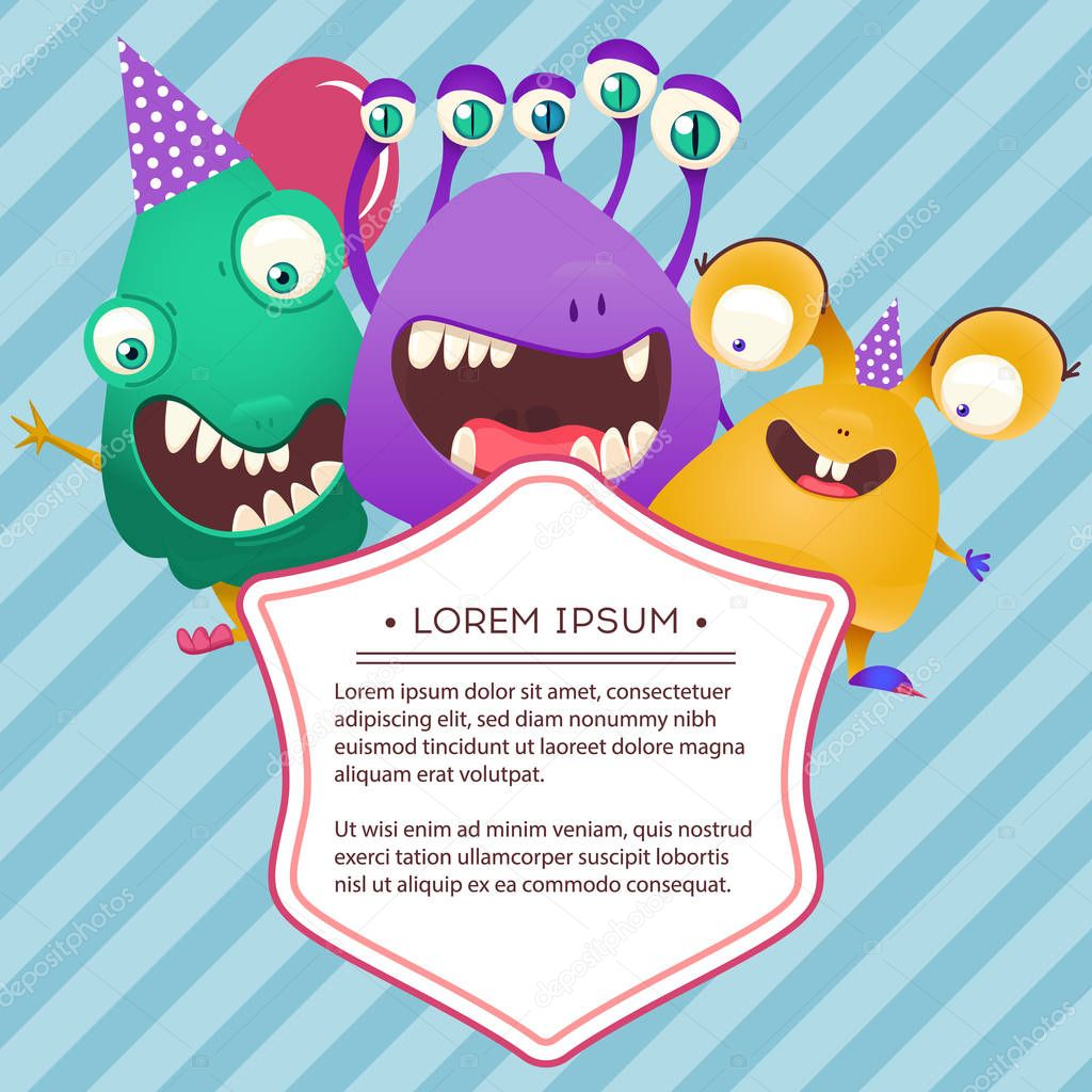Fun Monsters Happy Birthday Card Monster Party Invitation Card Design Vector Illustration Premium Vector In Adobe Illustrator Ai Ai Format Encapsulated Postscript Eps Eps Format