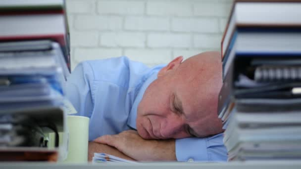 Tired Businessman Sleeping In Accounting Office Archive