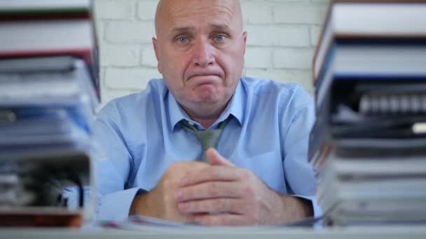 Amazed Businessman in Office Make Negation Hand Gestures