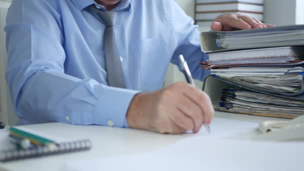 Businessman Accounting Work Take Notes in Financial Office