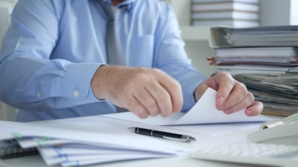 Businessman in Office Room Make Archiving Activity Order Accounting Papers