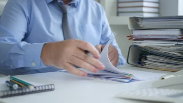 Businessman Office Activity Signing Accounting Papers Payments and Invoices