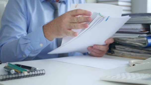 Businessman Take Contracts and Documents in Office Room Arranging Paper Files