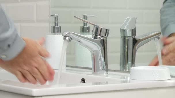Man in Bathroom Wash His Hands with Fresh Water Daily Hygiene Activity