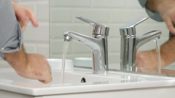 Man in Bathroom Wash His Hands with Soap and Fresh Water Daily Hygiene Activity