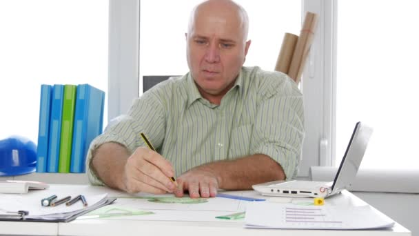 Businessman Working in Office Room Use Paper Plans Drawing Technical Scheme