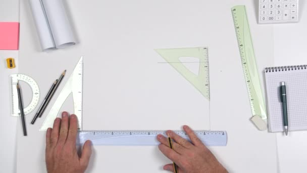 Top View with Architect Table and One Designer Making Draws Using Design Tolls