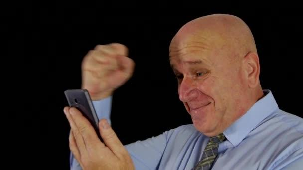 Happy Businessman Read Good News on Mobile Make Victory Gestures (Ultra High Definition, UltraHD, Ultra HD, UHD, 4K, 3840x2160)