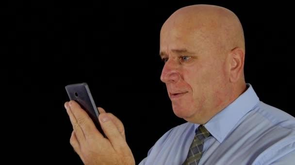 Happy Businessman Reading Good News on Mobile Make Winner Gestures (Ultra High Definition, UltraHD, Ultra HD, UHD, 4K, 3840x2160)