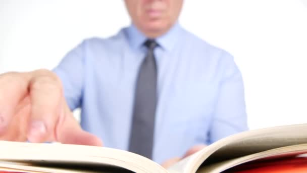 Close Up Businessman Hands Browsing Book Files Searching and Reading Text