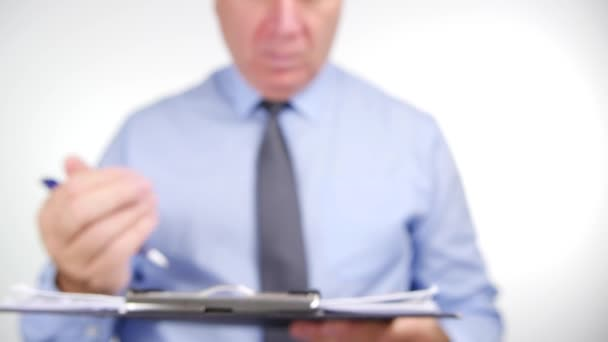 Businessman Use Pen Write in Clipboard Files and Give Away Close Up View