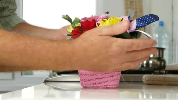 Man Decorating Kitchen Colorful Flower Arrangement Beautiful Flowers Bouquet