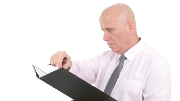 Businessman Writing in Folder Files Take Notes and Information Sign Documents