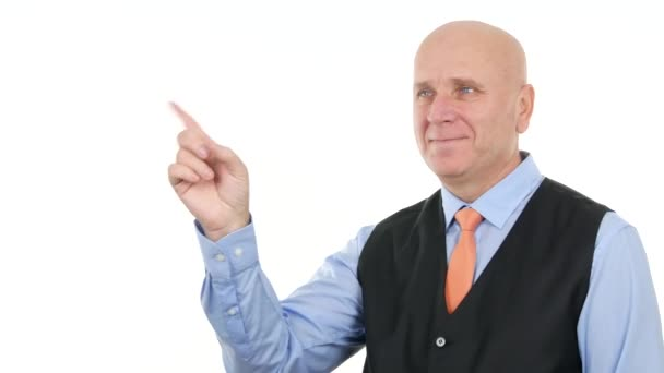 Podnikatel, usmívá se ruka prst gesta což znamená negaci