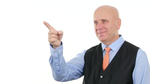 Jistý podnikatel zobrazující popisný s partnerem setkání gesta prstů
