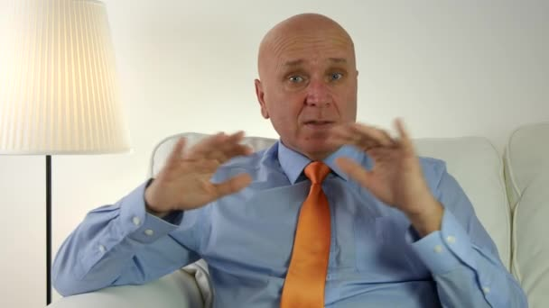 Businessman Interview Speaking and Gesturing with Hands in a Business Meeting.