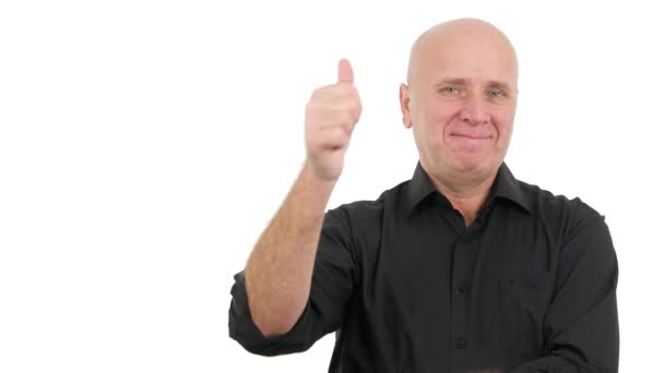 Happy and Confident Businessman Smiling and Showing Thumbs Up Victory Gesture.