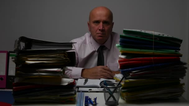 Sober Businessman Presentation During Office Job Looking Serious to Camera