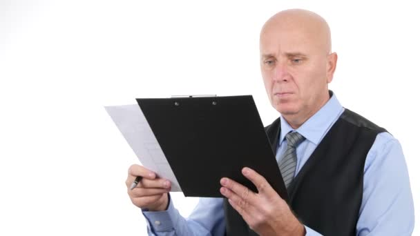 Confident Businessman Working with Documents Analyze Clipboard Paper Plans.