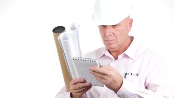 Planner Engineer Read Agenda Notes Businessman Look in Personal Notebook.