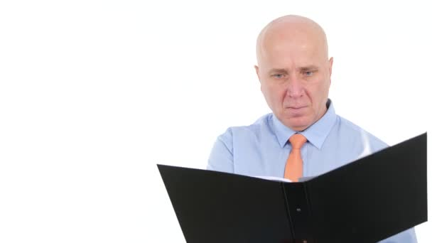 Serious Businessman Image Working with Documents Writing in Office Files Pages.